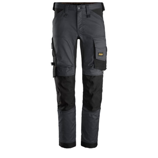 Werkbroek Snickers 6341 Stretch slim fit staal grijs - zwart