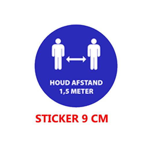 """Sticker vinyl """"1.5 meter afstand"""" - rond 9 cm."""