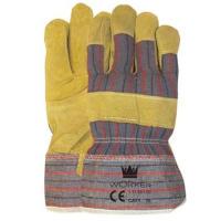 Handschoenen Rundsplitleder met gestreept doek