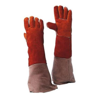 Lashandschoen Msafe rood splitleder met lange kap